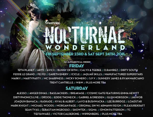 Insomniac pres. Nocturnal Wonderland 2011 Lineup